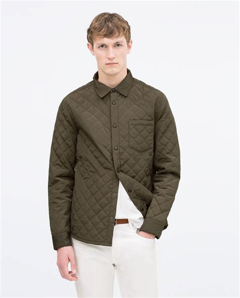 Green Quilted Jacket by Zara Quilted Jacket In Green For Lyst