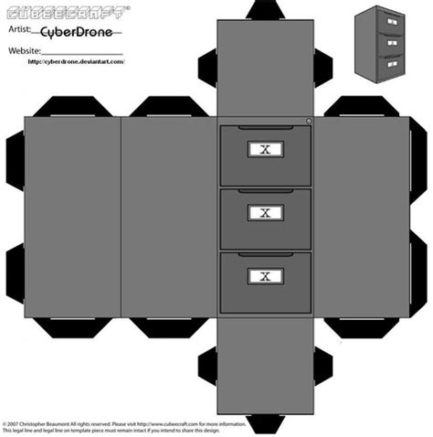 Cabinet Paper Template X Files Cabinet Paper Model Free Printable Papercraft Templates