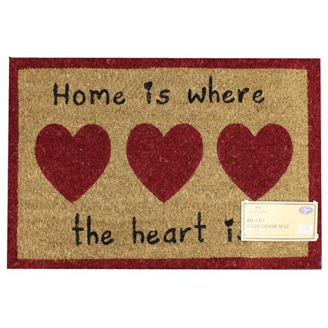 Home Is Where The Is Doormat by B M Gt Hearts Printed Coir Doormat Home Is Where The