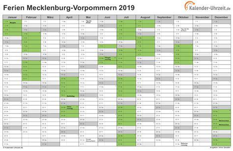 Kalender 2018 Schulferien Mv Ferien Meck Pomm 2019 Ferienkalender Zum Ausdrucken