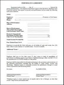 Musicians Contract Template by Performance Contract Free Printable Documents