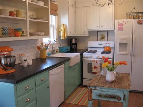 Vintage Kitchen Makeovers Before After A White Kitchen Gets A Colorful Makeover