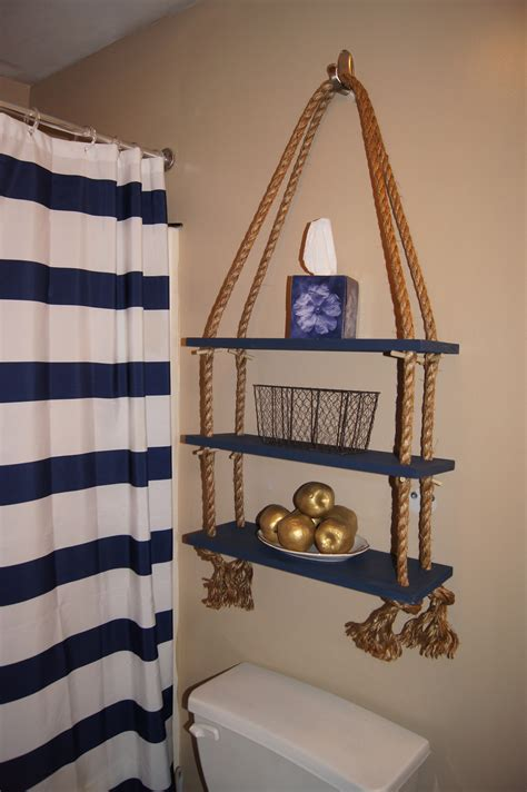 nautical bathroom shelves apartment d 233 cor diy nautical rope shelf my first apartment