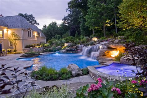 backyard design with pool backyard swimming pools waterfalls landscaping nj