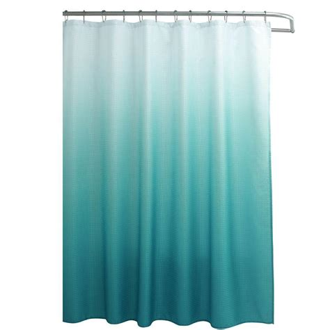 Teal Ombre Curtains Creative Home Ideas Ombre Waffle Weave 70 In W X 72 In L Shower Curtain With Metal Roller