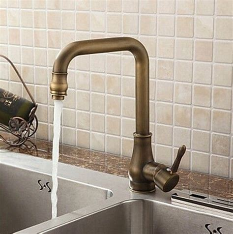 Kitchen Faucet Atlanta Antique Brass Finish Single Handle Swivel Kitchen Faucet T02001 Kitchen Faucets