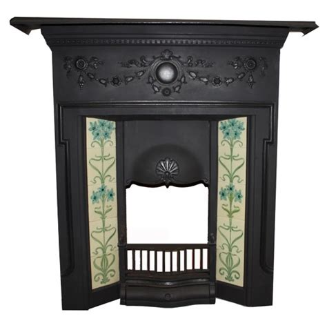 antique original tiled combination fireplace ex display