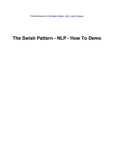 swish pattern nlp learn how to do the swish pattern nlp