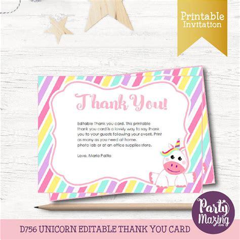 printable unicorn thank you cards unicorn thank you card editable printable cards