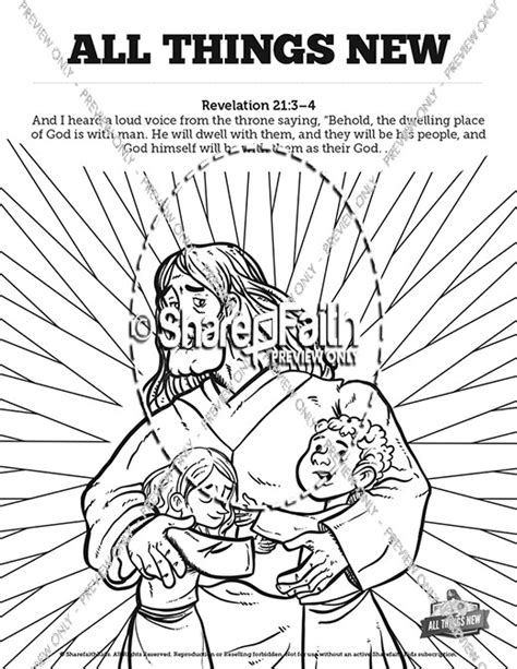 coloring page school things revelation 21 all things new sunday school coloring pages