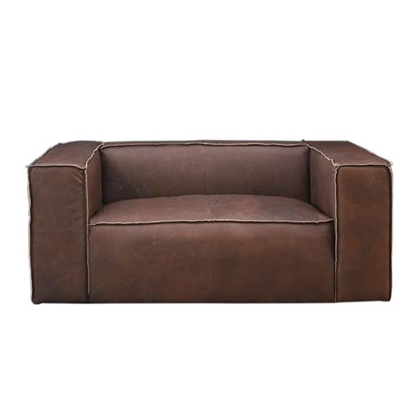 sofa 2 sitzer mit ottomane vintage echtleder sofa bugatti leder designsofa 2 sitzer