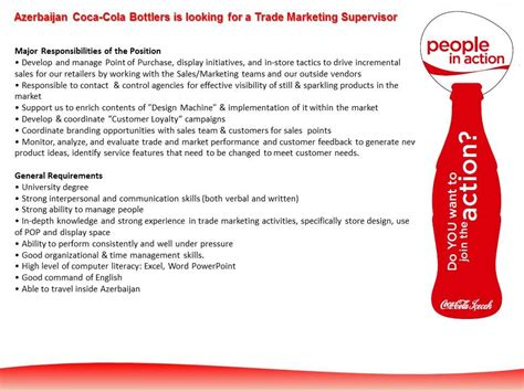 trade marketing description vacancy for trade marketing supervisor at azerbaijan coca