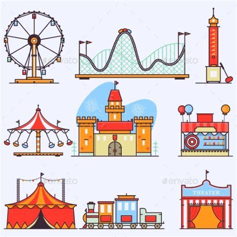 theme park vector amusement park vector flat elements isolated by novitskiy