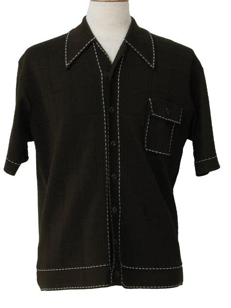mens knit button shirt vintage virany 70 s shirt 70s virany mens brown