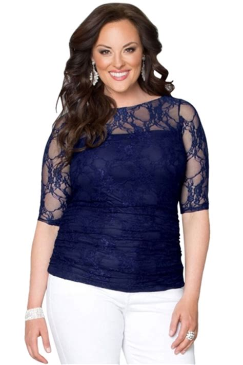 Blouse Fashions Import 010 Blue Pink womens chic crewneck half sleeve plus size lace blouse sapphire blue pink