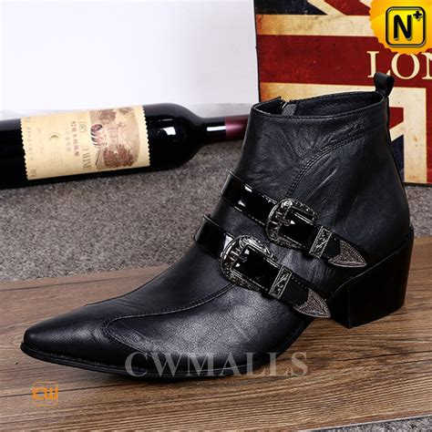 black leather ankle dress boots cw750227