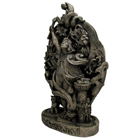 aradia queen of the witches plaque in wood or stone finish aradia witchcraft statue dryad design queen of the