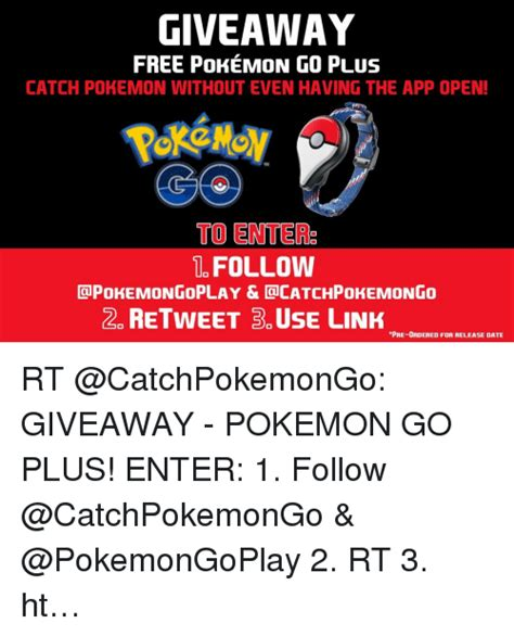 Free Pokemon Giveaway - giveaway free pokemon go plus catch pokemon without even having the app open to ente