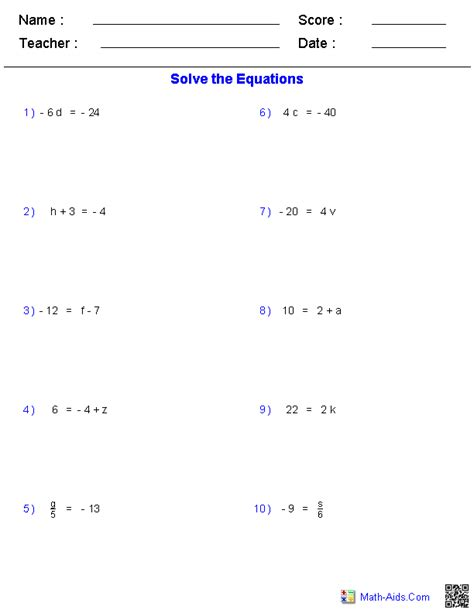 One Step Equations Worksheet Pdf by One Step Equations Worksheets Containing Integers Math