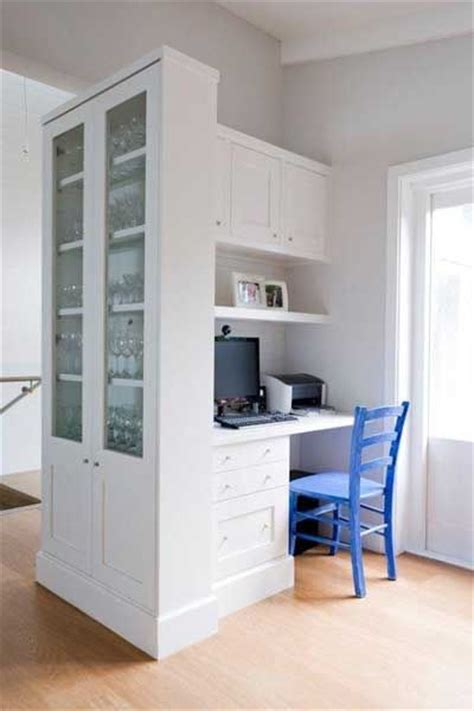 Living Room Office Nook Cabinets Like These To Separate Kitchen And Dining Room
