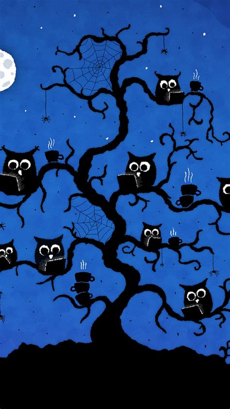 Wallpaper For Iphone 5 Owl | 640x1136 internet cafe owls tree moon iphone 5 wallpaper