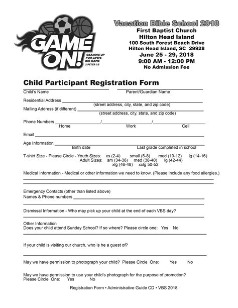Vacation Bible School Vbs Registration Form Template