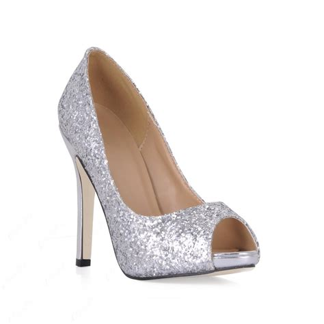 Peep Toe Shoes by Shining Silver Stiletto Heels Peep Toe Prom Evening Shoes