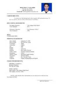 Sample Resume Format I Hereby Certify by Rickyboy Resume
