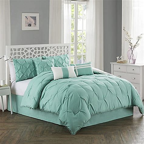aqua king comforter sets buy pom pom 7 piece king comforter set in aqua from bed