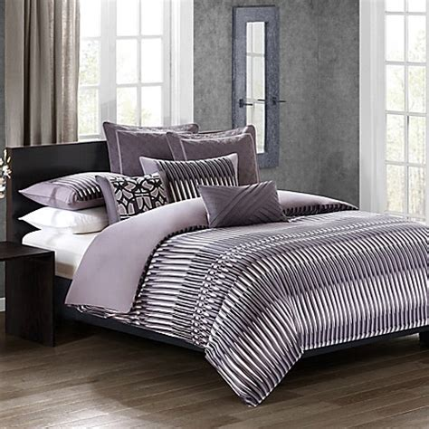 abstract bedding n natori 174 abstract stripe comforter set in grey www bedbathandbeyond com