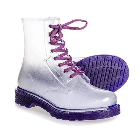 clear boots blue banana shoes purple clear boots trainers