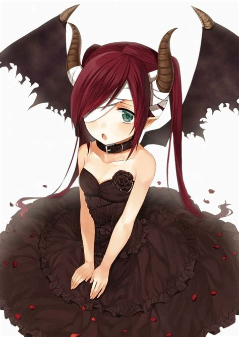 anime demon girl with short hair anime girl demon with red hair green eyes black dress