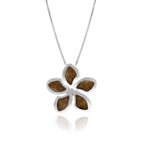 koa wood hawaiian plumeria pendant necklace