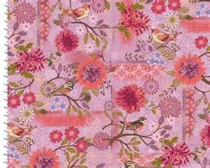 cotton quilt fabric meadowlark pink violet bird