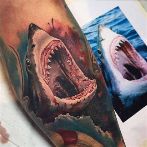 jaws tattoo great white shark best design ideas
