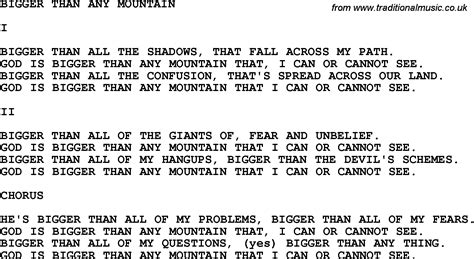 printable lyrics god on the mountain country southern and bluegrass gospel song bigger than