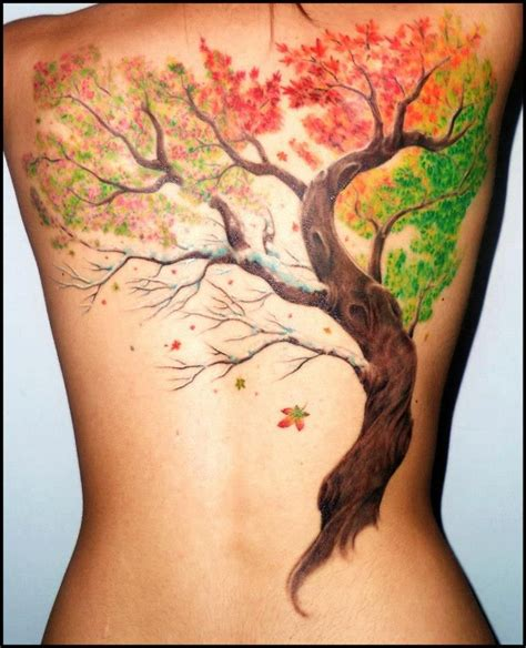 fall tattoo tree with falling leaves www pixshark