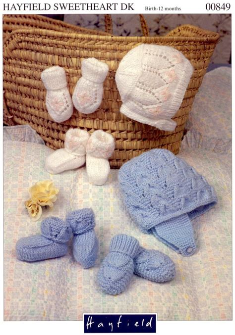 Catell Mittens And Booties Set knit hats mittens and booties set vintage pattern baby