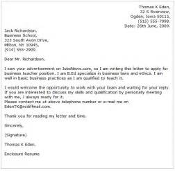 business and financial cover letter examples