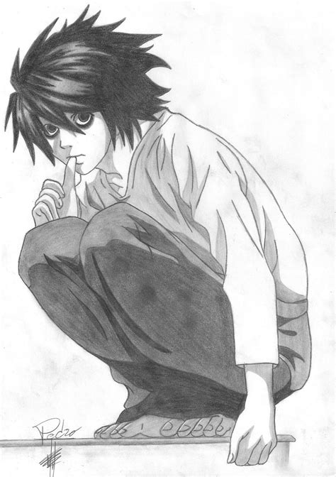 Death Note - L by PedroxHP on DeviantArt L Death Note Drawing