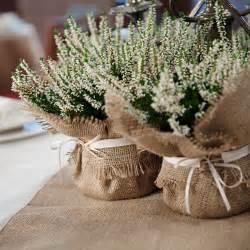 burlap wedding decorations rustic wedding decoration burlap plant wrap with satin tie