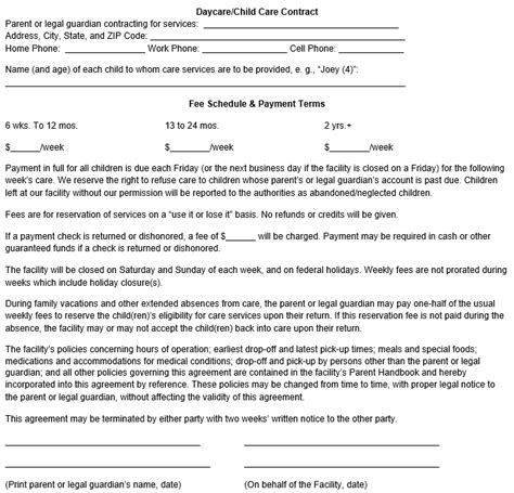 child care contract template child care contract template