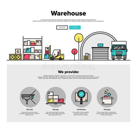 warehouse layout forklift warehouse storage flat line web graphics stock vector