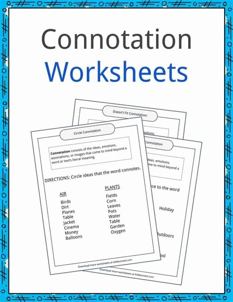 Connotation And Denotation Worksheets For Middle School by Connotation Worksheets Free Middle School Connotation