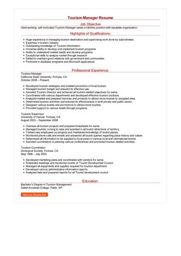 tourism manager resume great sample resume