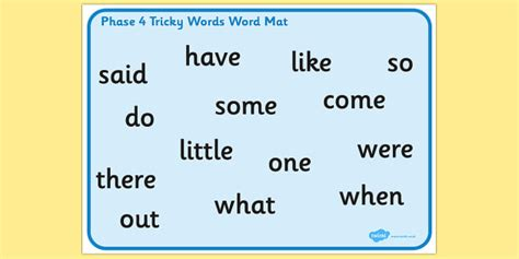 phase 2 word mat phase 4 tricky words word mat