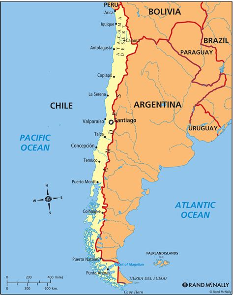 political map of chile chile map