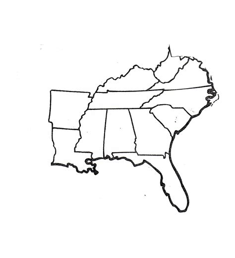 Southeastern United States Outline Map by Blank Map Of Southeastern States