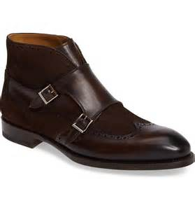 handmade mens monk brown leather and suede boot