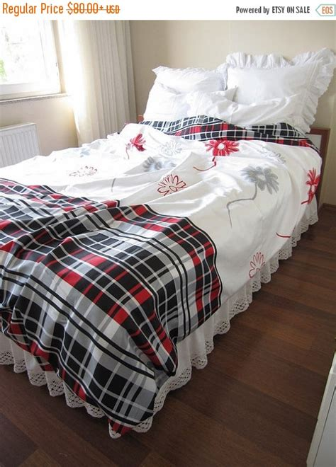 bedding clearance sale clearance sale tartan plaid bedding white red black by